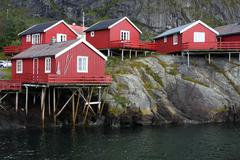 Wooden house at the lofoten archipelago Stock Photos