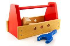 wooden toolkit - stock photo