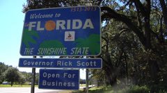 Florida, MWS Welcome to Florida sign, Zoom IN  to Rick Scott Governor Stock Footage
