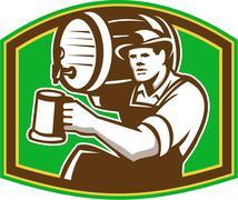 Barman bartender pour beer barrel retro Stock Illustration