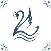 Stylized swan illustration - stock illustration