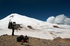 climber on a alp - stock photo