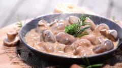 Mushrooms (with creamy sauce) Stock Footage
