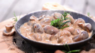 Stock Video Footage of mushrooms (with creamy sauce)