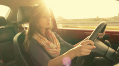 Gorgeous car driver footage Stock Footage
