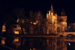 castle at the night time, budapest - stock photo