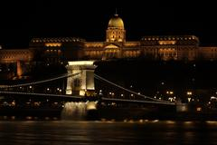 building at the night time, budapest - stock photo