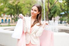 beauty goes shopping. - stock photo