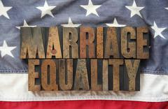Marriage equality on old American flag Stock Illustration
