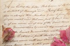 Old document hand script with flowers Stock Photos