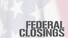 Federal closings words on USA flag Stock Illustration