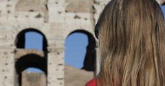 Ultra HD 4K Happy Woman Traveler Smile Smiling Joy Rome Travel Famous Colosseum - stock footage
