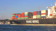 Stock Video Footage of Container ship YM SUCCESS