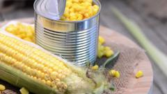 preserved sweetcorn (loopable video) - stock footage