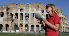 Ultra HD 4K Happy Woman Smile Tourist Traveler Direction Map Colosseum Rome - stock footage