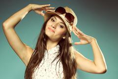 beautiful happy girl in summer hat - stock photo