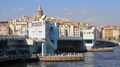 Galata Bridge and Tower Stock Footage