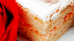 sweet food: cake with whipped cream - stock footage