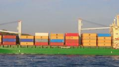 Green Container Ship Stock Footage