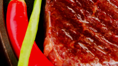 Meat savory : platter of grilled beefsteak Stock Footage