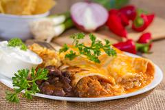 Southwest beef enchilada. Stock Photos