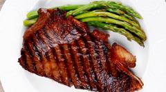 Rare medium roast beef fillet Stock Footage