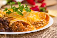 southwest beef enchilada. - stock photo