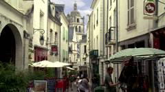 Pedestrian street (5) - Loches France Stock Footage
