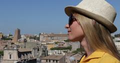 Ultra HD 4K Woman Happy Smiling Beautiful Girl Enjoy Rome Travel Skyline Stock Footage