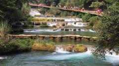 Multi-level waterfalls - stock footage