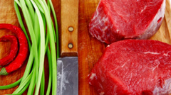 Fillet chops : fresh beef meat with thyme Stock Footage