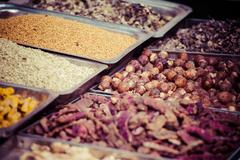 Stock Photo of indian colored spices at local market in, india