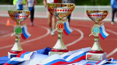 Prize cups for winners of XXI Moscow supermarathon Stock Footage