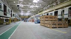 People work at Mytishchi Metrovagonmash factory Stock Footage