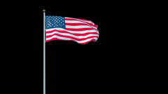 American Flag on Alpha Matte Stock Footage