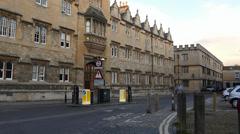 A street view of Oxford University, UK. (OXFORD UNIVERDITY STREET SCENE-31B) Stock Footage