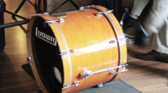 Bass drum set up Stock Footage