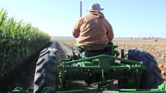 TRACTOR FARMER FARMING AGRICULTURE CORN FARM HARVEST Stock Footage