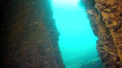 Sunken ship in Black sea Stock Footage