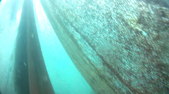 Torn fishnet underwater panoramic of the entire fishnet Stock Footage