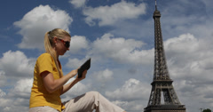 Ultra HD 4K Attractive Business Woman Using Holding Read Tablet Paris Outdoor - stock footage