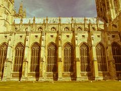 Stock Photo of retro looking canterbury cathedral