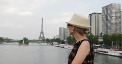 Ultra HD 4K Paris Eiffel Tower Lucky Happy Young Woman Girl Lifestyle Fashion Stock Footage