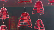 Stock Video Footage of Burning incense coils in Buddhist temple
