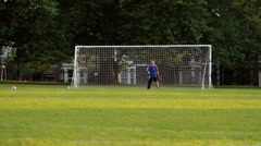 Kids Playing Football / Soccer in Park Stock Footage