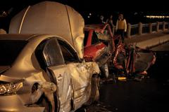 Accident at night road Stock Photos