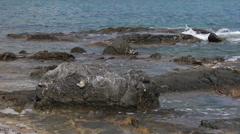 Basalt rocks. Mediterranean Sea. Rhodes island. Stock Footage