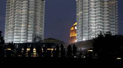Petronas twin towers at night Stock Footage