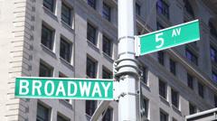 Broadway & 5.Av sign - stock footage