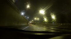 Car Driving Along Highway - Gopro POV Point of View Shot - Raining, Night 04 Stock Footage